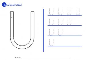 Ficha educativa de Grafomotricidad letra u.