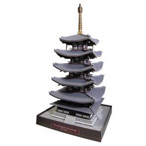 Papercraft building del Templo de Horyuji. Manualidades a Raudales.