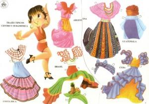 Recortable de muñecas de trajes típicos. Manualidades a Raudales.