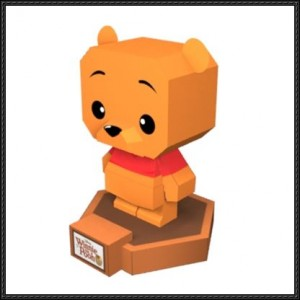 Papercraft imprimible y amable de Winnie The Pooh. Manualidades a Raudales.
