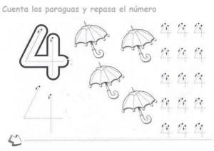 Ficha de Grafomotricidad del número 4. Manualidades a Raudales.