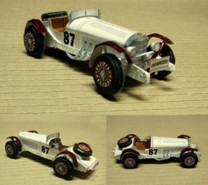 Papercraft imprimible y armable del Mercedes Benz SSK. Manualidades a Raudales.
