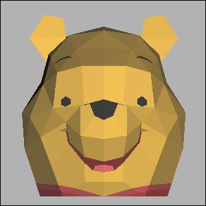 Papercraft de la cabeza de Winnie the Pooh. Manualidades a Raudales.