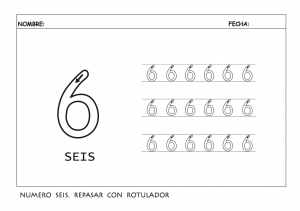 Grafomotricidad con el número 6. Manualidades a Raudales.