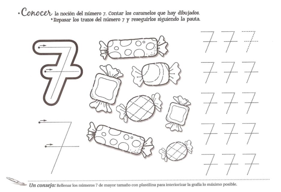 Dibujos Del Numero 7 Para Colorear: Grafomotricidad Número 7