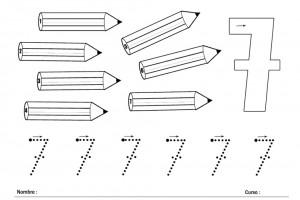 Grafomotricidad con el número 7. Manualidades a Raudales.