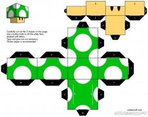 Cubeecraft de la Seta de Mario de Nintendo. Manualidades a Raudales.