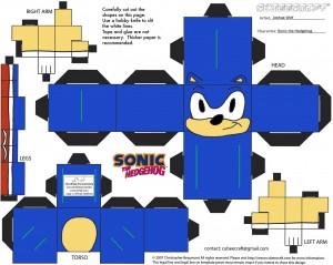 Cubeecraft del erizo Sonic de SEGA. Manualidades a Raudales.