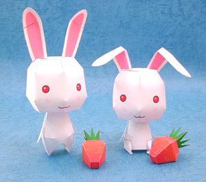 Papercraft de conejos blancos. Manualidades a Raudales.