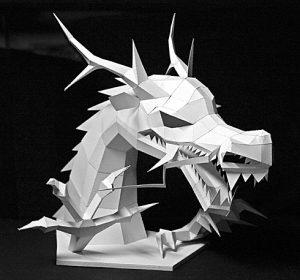 Papercraft imprimible de un Dragón asiático. Manualidaes a Raudales.