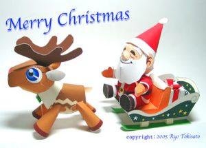 Papercraft de Santa Claus y su reno infantil. Manualidades a Raudales.