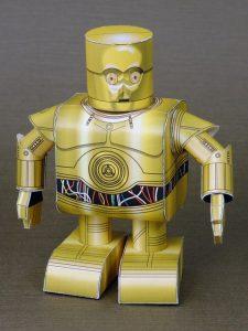 Papercraft imprimible y recortable de C-3PO de Star Wars. Manualidades a Raudales.