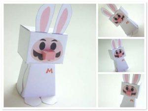 Papercraft de Super Mario disfrazado de conejo. Manualidades a Raudales.