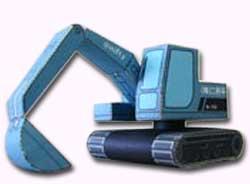 Papercraft imprimible y recortable de una retroexcavadora de juguete. Manualidades a Raudales.