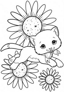 Fichas para colorear dibujos de gatos. Manualidades a Raudales.