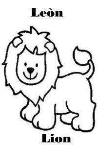 Fichas para colorear dibujos de leones. Manualidades a Raudales.
