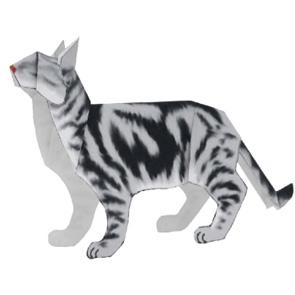 Papercraft de un Gato Americano de pelo corto. Manualidades a Raudales.