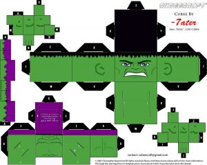 Cubeecraft de Hulk. Manualidades a Raudales.