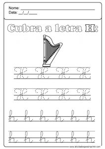 Ficha de grafomotricidad de la letra h. Manualidades a Raudales.