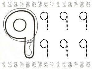 Grafomotricidad del número 9. Manualidades a Raudales.