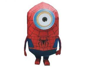 Papercraft de un Minion disfrazado de Spiderman. Manualidades a Raudales.