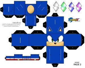 Cubeecraft del juego de Sonic de SEGA. Manualidades a Raudales.