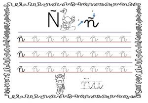 Grafomotricidad de la letra ñ. Manualidades a Raudales.